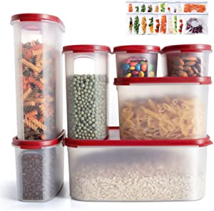 AONE Airtight Food Storage Container with Lids - 7Pack BPA Free Plastic Food Containers, Leak Proof Pantry Storage Containers with 20Food Storage Bags