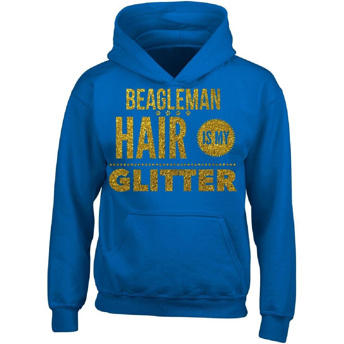Cool Funky Tees Beagleman Hair Is My Glitter Dog Lovers Gift Adult Hoodie