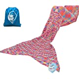 """LAGHCAT Mermaid Tail Blanket Knit Crochet and Mermaid Blanket for Adult,Sleeping Blanket (71""""x35.5"""", Fleck Pink)"""