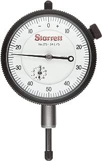 "product image for Starrett 25-341/5P Dial Indicator, 0.375"" Stem Dia., Lug-on-Center Back, White Dial, 0-50-0 Reading, 0-0.5"" Range, 0.001"" Graduation"