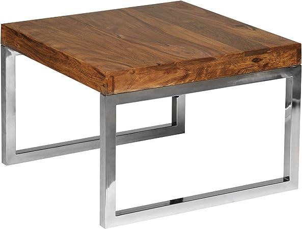 Finebuy Table D Appoint Bois Massif Metal Sheesham 60 X 40 X