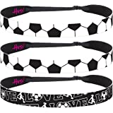 Hipsy Women's Adjustable NO SLIP I Love Soccer Headbands