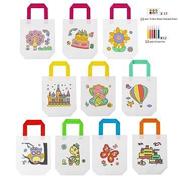 Rmeet Bolsas Colorear,12 Pack Graffiti Bags No Tejidas 12 Estilos DIY Bolsas Infantiles para Colorear Ideal para Fiestas de ...