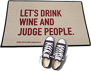 product image for HIGH COTTON Welcome Doormat - Lets Drink Wine and Judge People.