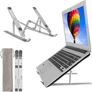 Laptop Stand, Adjustable Aluminum Computer Mount, Foldable Laptop Riser, Portable Notebook Holder Compatible with 7-17 inches Laptop, Tablet, Notebook by CaYoumi (Silver)