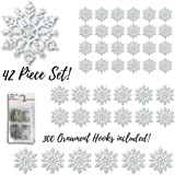 """Snowflake Christmas Ornaments - Set of 42 Assorted Sized Snowflakes - 4"""" Clear Glitter Snowflakes (24) - 5"""" Clear Glitter Snowflakes (12) - 6"""" clear Glitter Snowflakes (6)"""