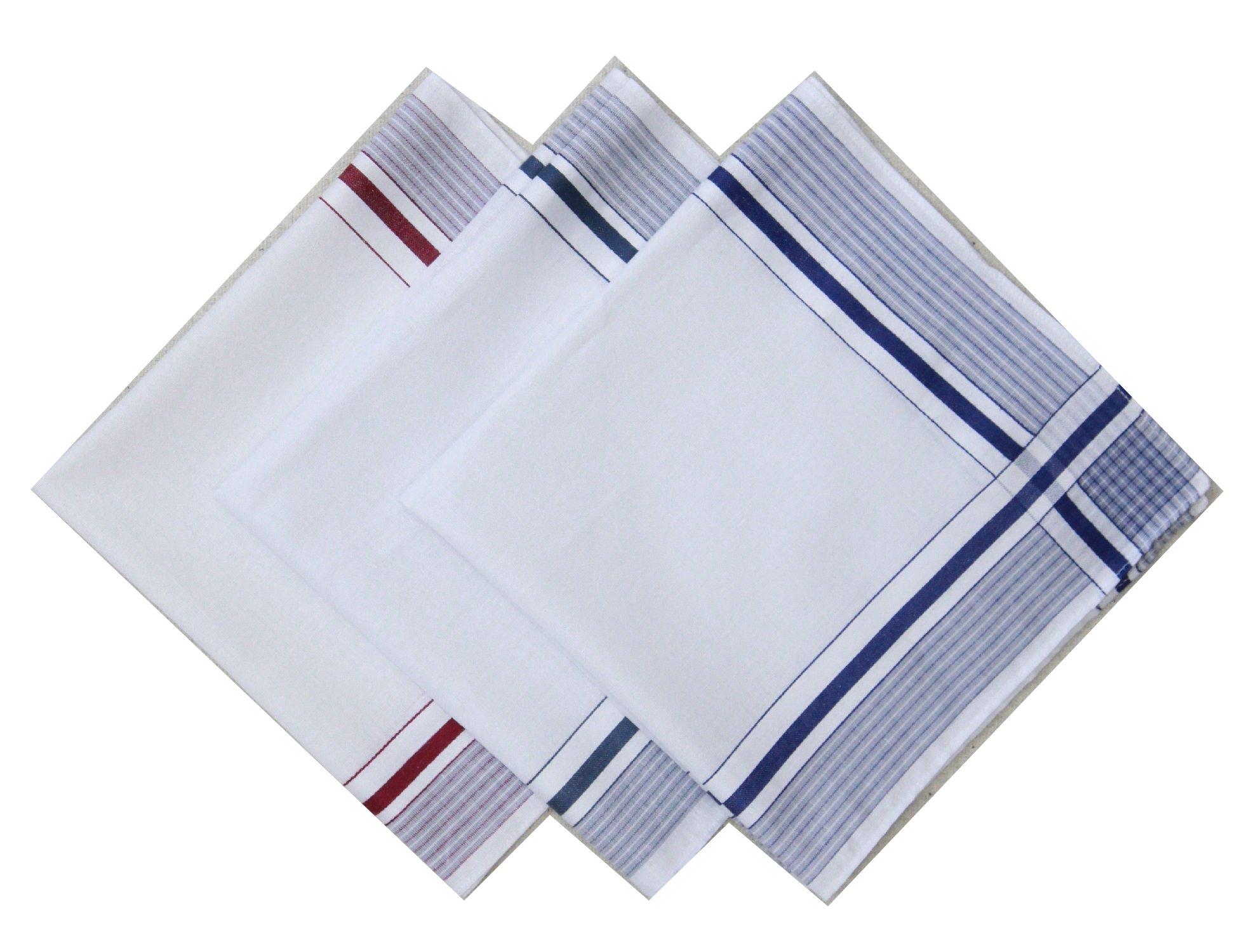 Blank&Black 100% Cotton Men's Handkerchief 3 Piece Gift Set Assorted Pack, 10, 40S