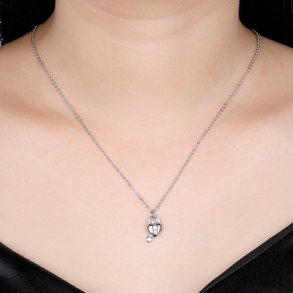 myazs8580 SILVERHOO Fashion Sterling Silver Necklace Heart Lock Pendant Necklace YHN0003B.