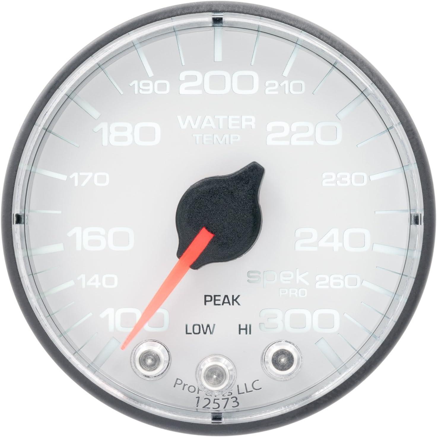 AutoMeter P346128 Gauge Water Temp Spek-Pro 2 1//16, 300/ºf, Stepper Motorwith Peak /& Warn, Wht//Blk, Spek-Pro
