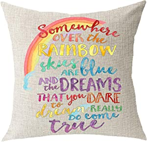 "Encouraged saying Somewhere Over The Rainbow Sky Are Blue And Dream Come True Cotton Linen Square Throw Waist Pillow Case Decorative Cushion Cover Pillowcase Sofa 18""x 18"""