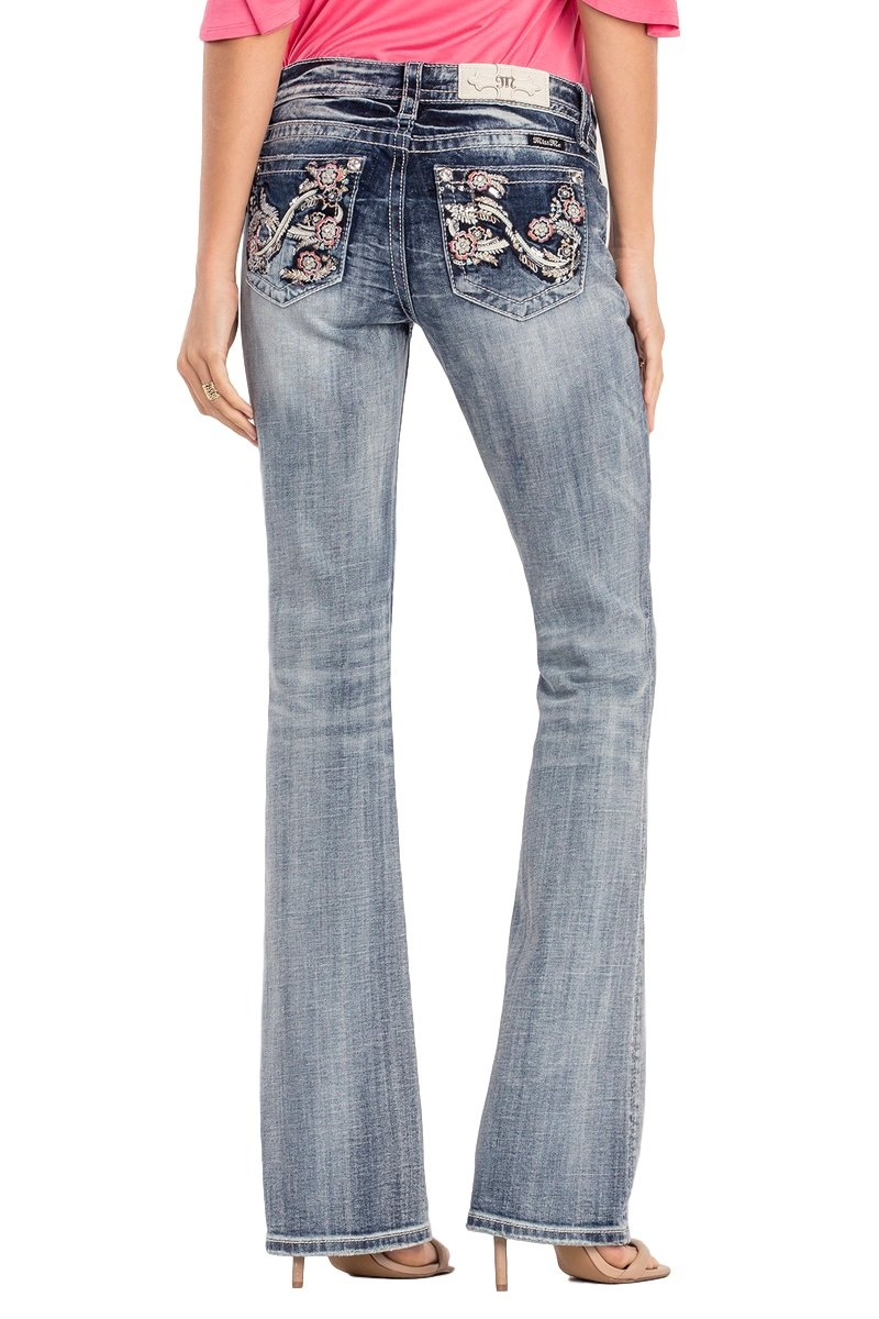 Miss Me Whirlwind Eternity Floral Mid-Rise Boot Cut Jeans, Medium Wash