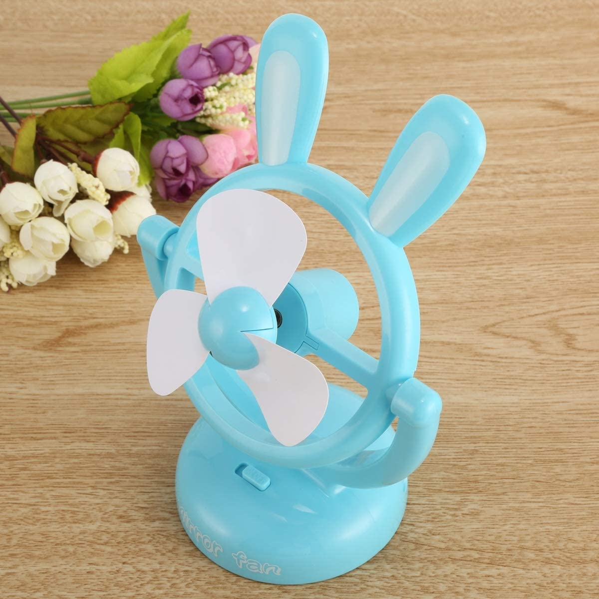 Color : Sky Blue Mini Portable Cartoon Cute Rabbit Fan Cooling Cooler Desktop Computer Fan