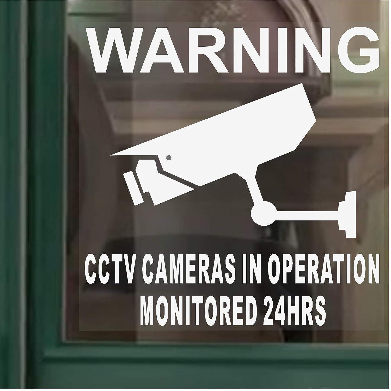 6 x pegatinas para ventana-supervisados por grabación de vídeo CCTV cámara de fotos de seguridad la tensión funcionamiento-24h juego de adhesivos de advertencia-de vinilo autoadhesivo con texto en inglés: Amazon.es: Bricolaje y