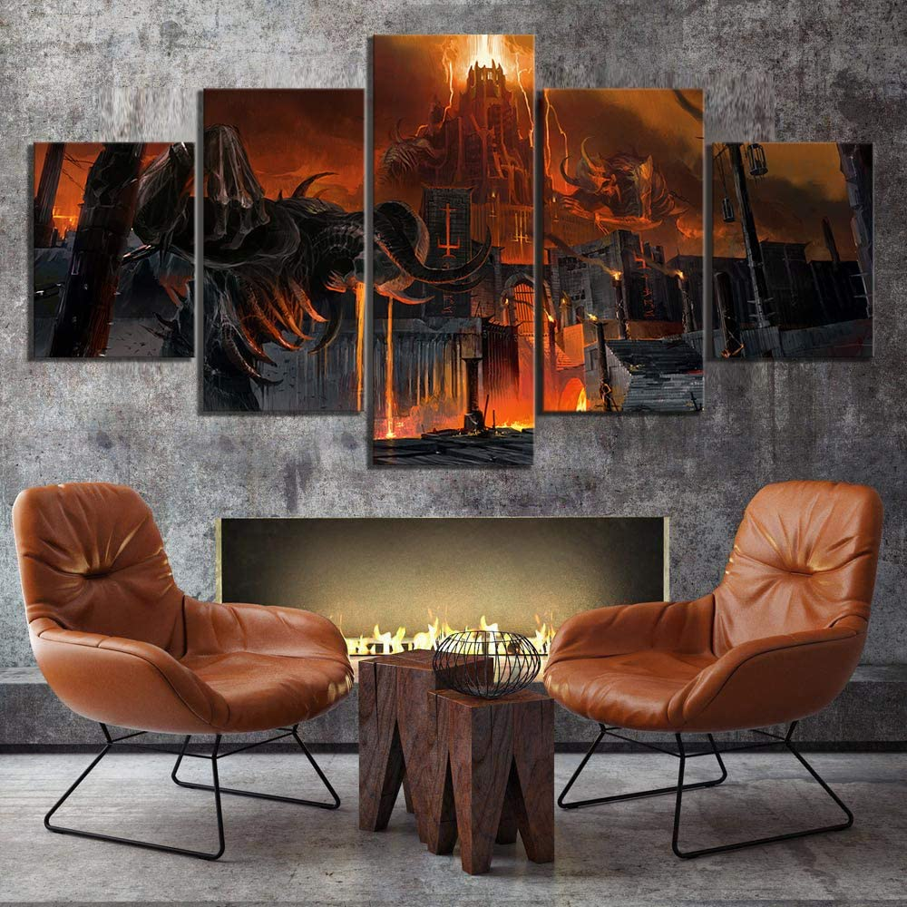5 Piece Fantasy Art HD Skeleton Skull Picture Doom Eternal Game Poster Artwork Canvas Paintings Wall Art for Home Decor (10x16x2 10x22x2 10x28 inch,Framed)