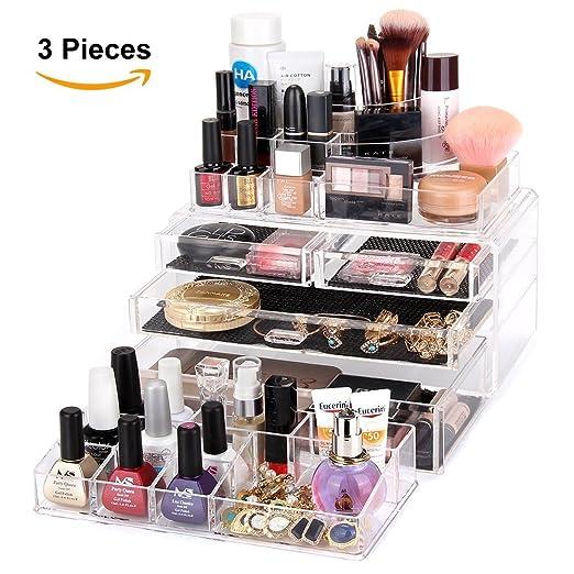 Amazoncom MelodySusie Large Acrylic Makeup Organizer A Set of 3