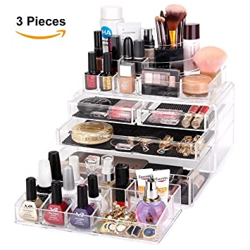 MelodySusie Large Acrylic Makeup Organizer - A Set of 3 Pieces Transparent  Modern Jewelry and