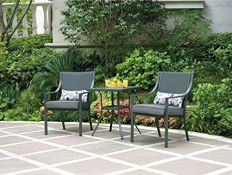 Alexandra Square 3 Piece Outdoor Bistro Set, Grey With Leaves