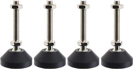 Supports de Meubles avec R/égulation de Rotation des Contre-/écrous 4 Pi/èces Antid/érapant Inclinable /à 30 Degr/és EMSea Pieds de Nivellement D40xM8xL50