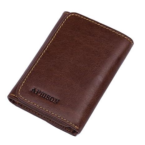APHISONUK RFID Billetera de bloqueo suave de cuero genuino ...