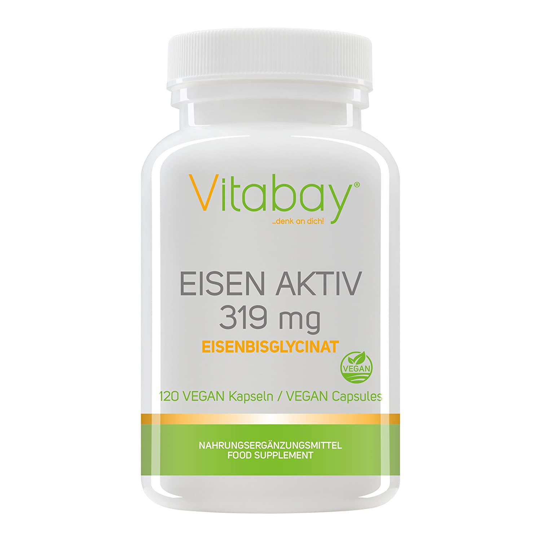 Eisen Aktiv aus Eisenbisglycinat 319 mg - 120 Vegi Kapseln - Extra ...