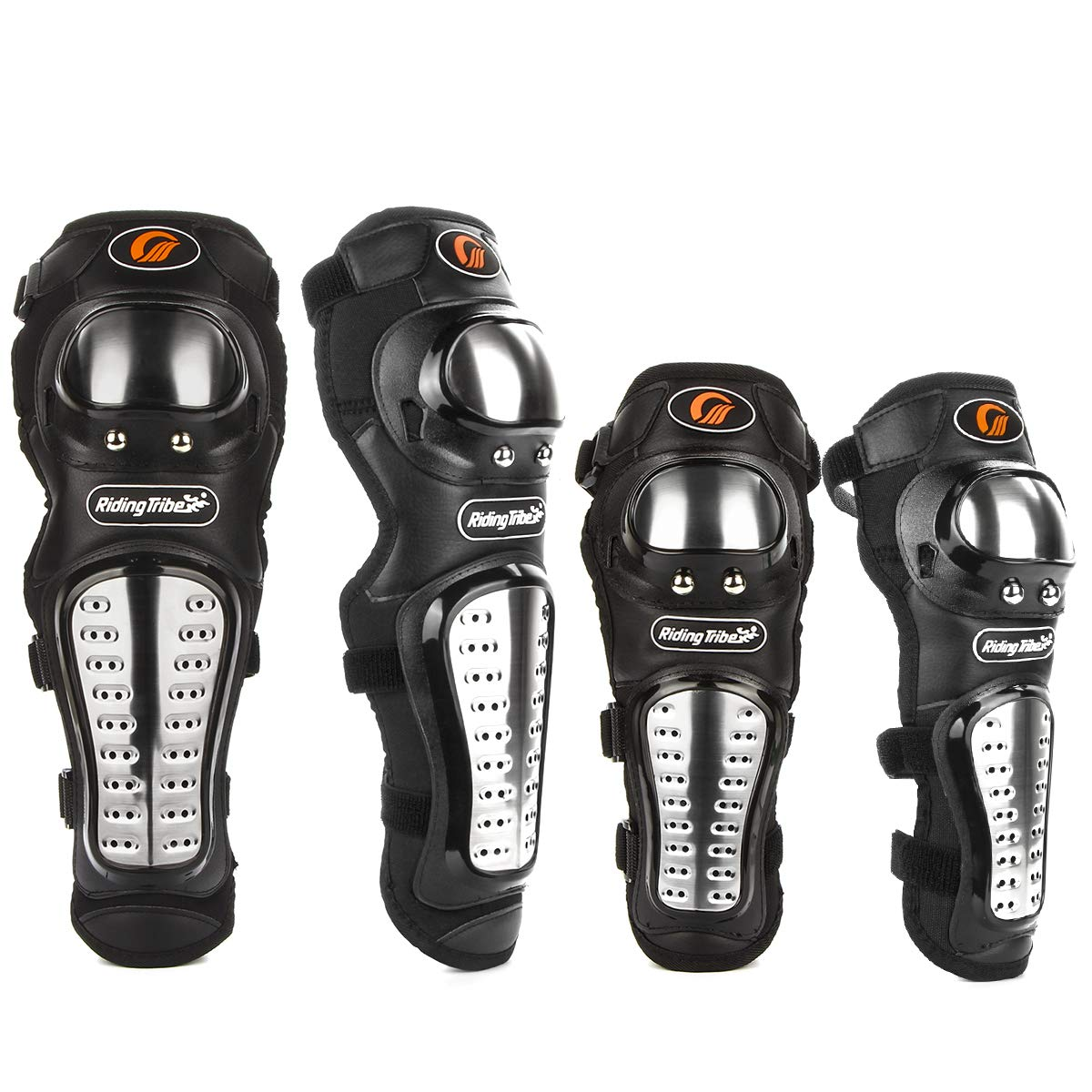 4Pcs Adults Alloy Steel Motorcycle Knee Pads Elbow Guards Motocross Knee Shin Pads Protector KING SHOWDEN KING1183