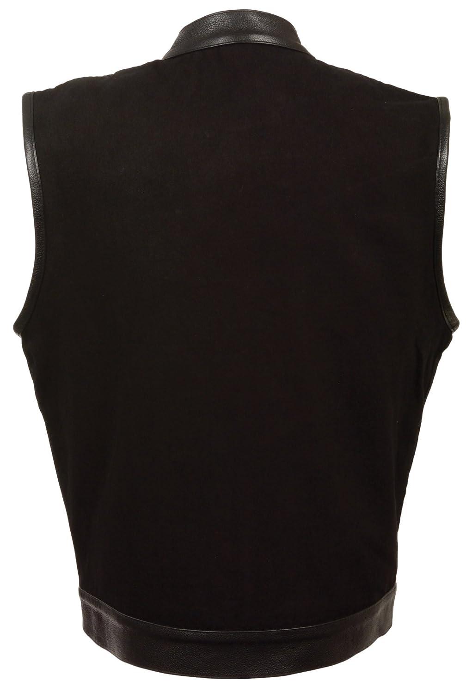 Milwaukee Mens Denim Club Vest with Leather Trims Black, Large