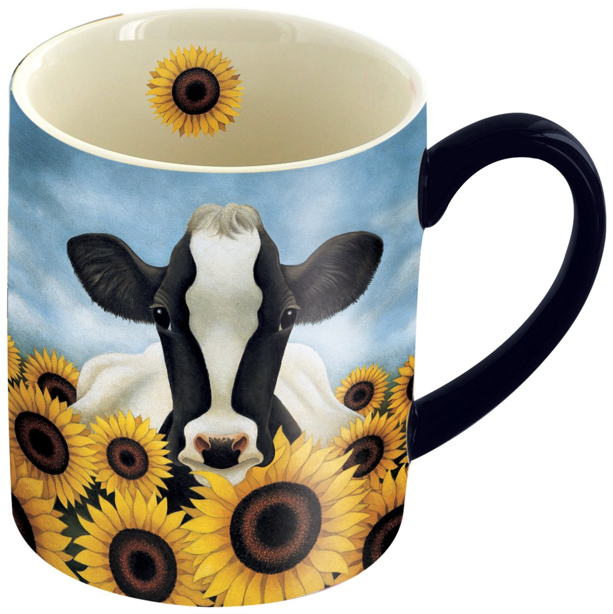LANG 14 oz. Ceramic Coffee Mug Surrounded by Sunflowers Art by Lowell Herrero - Cow, Sunflowers Country Theme