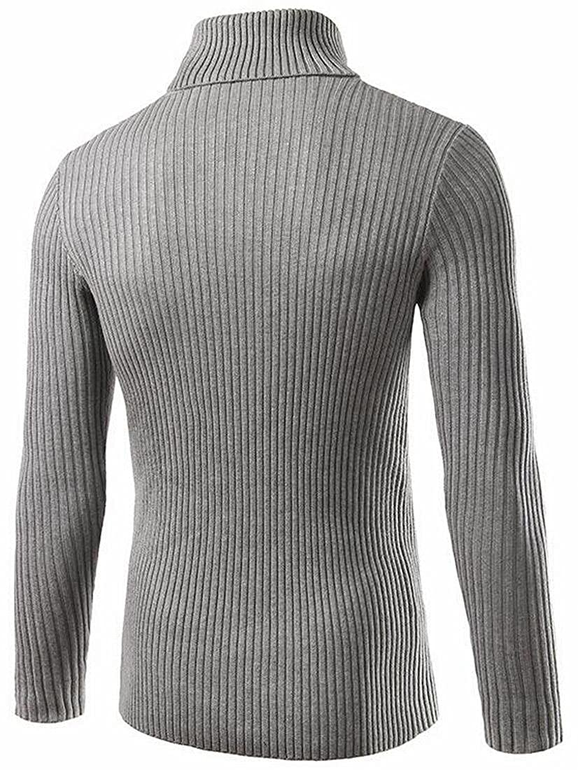UUYUK-Men Turtle Neck Plain Solid Cable Knit Slim Pullover Sweater