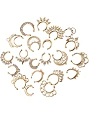 D DOLITY 21pcs Fake Illusion Septum Clicker Nose Ring Non Piercing Hanger Clip On