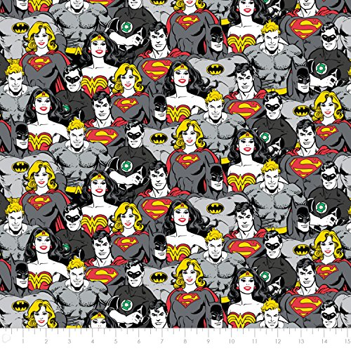DC Comics Superhero Crowd in Iron Premium Cotton Fabric by The Yard]()