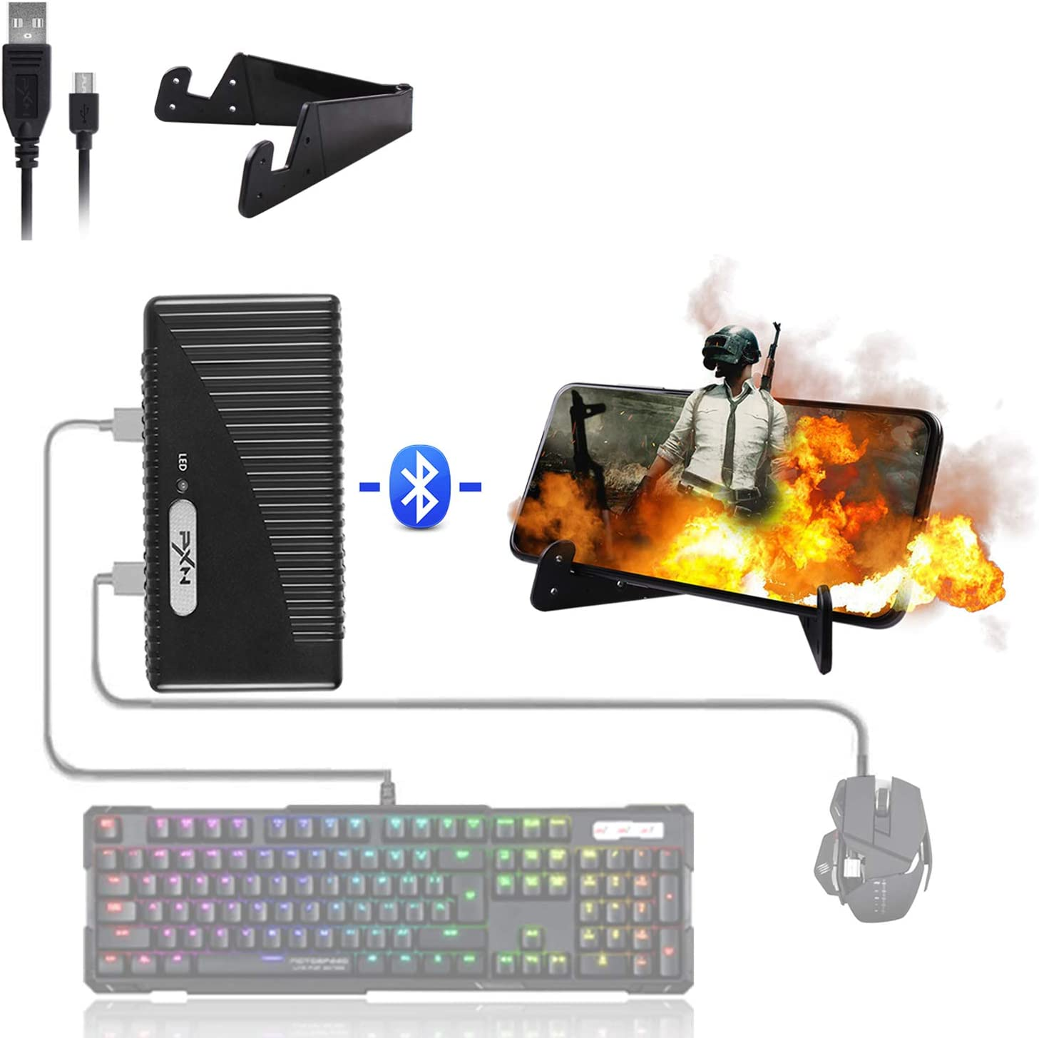 ATUTEN Juegos móviles Adaptador de Teclado y Mouse, Convertidor de Controlador de Juego Móvil USB PXN-K10 Conexiones Cableadas/Inalámbricas, para Android/iOS PUBG FPS COD Mobile Game Assistant.