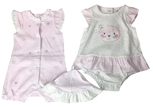948e9e9ca Amazon.com  Little Me Baby Girls  2-Pack Romper with Hat