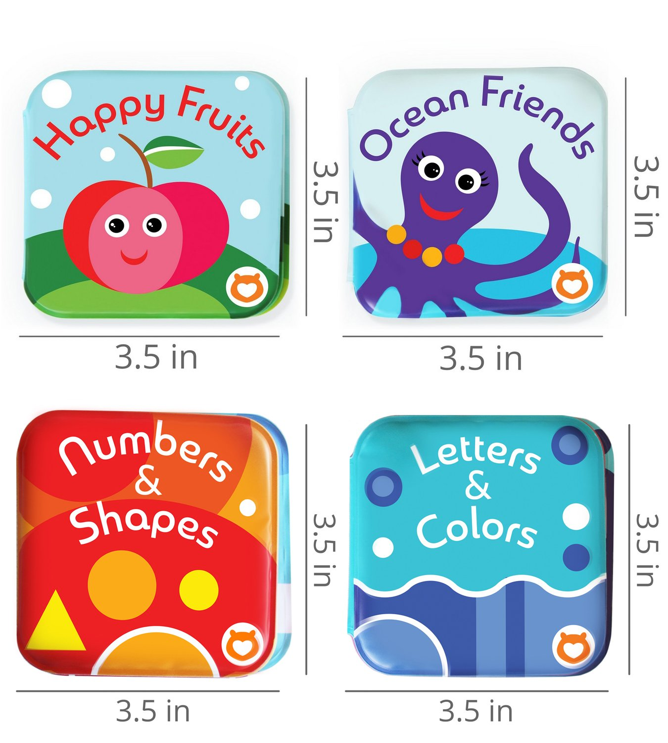 Floating Baby Bath Books Pack of 4 by Baby Bibi Bath Toys for Toddlers with Sea Creatures Alphabet /& Numbers Books 4 Bath Tub Books for Toddlers Waterproof. Baby Book Set: Fruit Books for Children