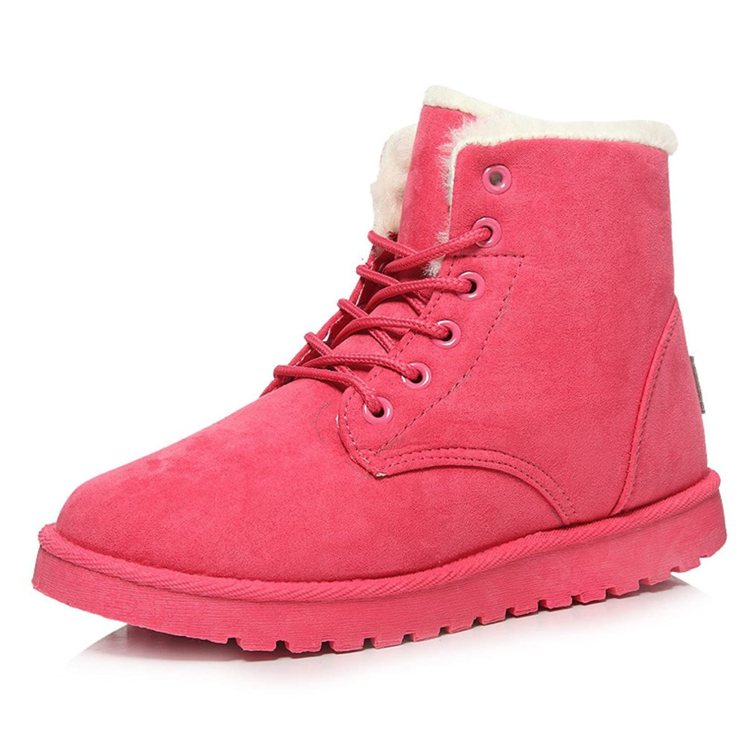 D-YUN Women's Fashion Boots Comfort Shoes Flat Lace UP ankle Winter Warm Snow Boot