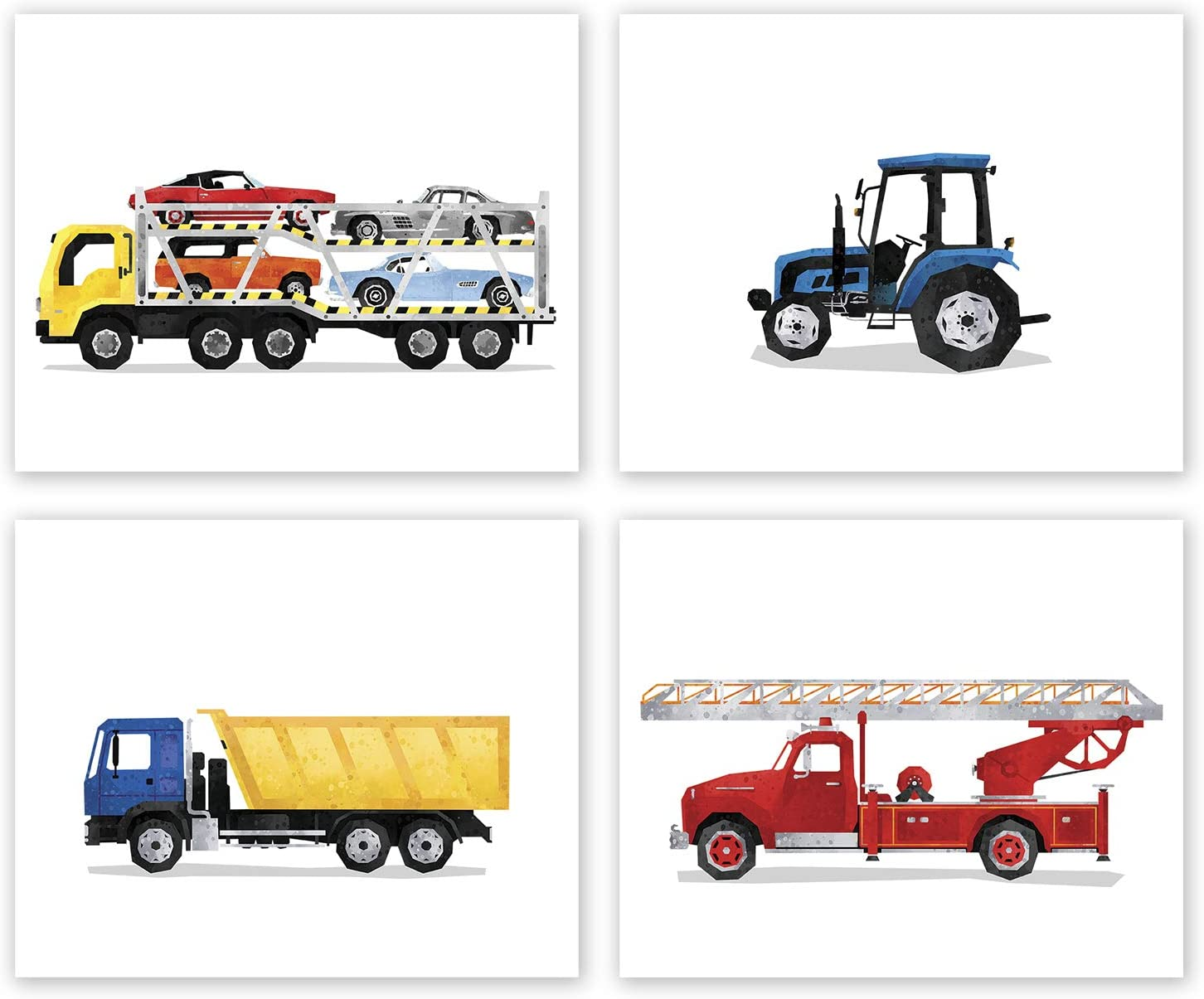 Boys Room Decor - Set of 4 Posters // Dump Truck Car Carrier // Tractor // FireTruck // Boy Bedroom Transportation Wall Art // Boy Nursery Prints // Party Decoration // For Toddlers (8x10, Set 4 Fire)
