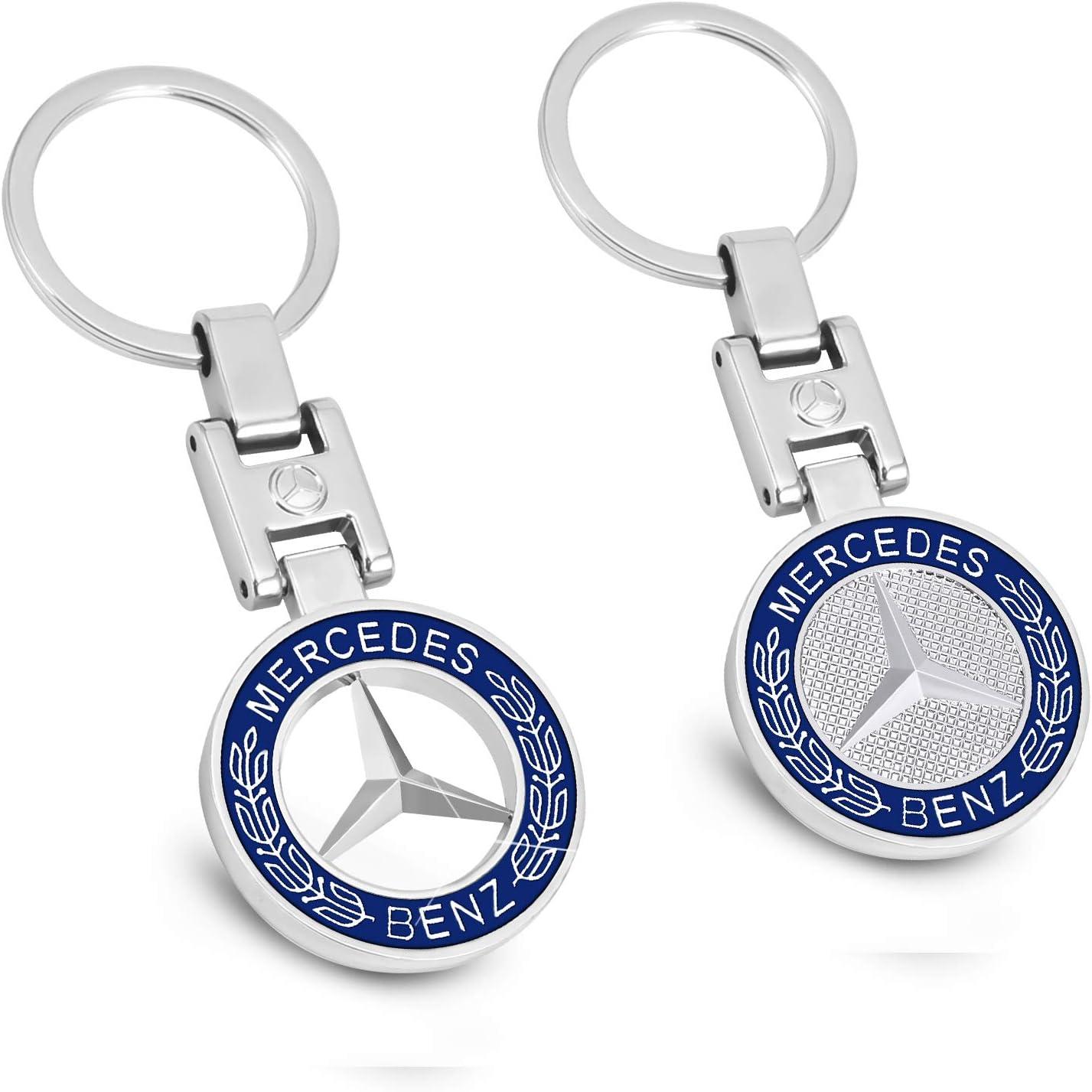 MIKAFEN Llavero de coche con emblema 3D de metal para BMW Mercedes Benz VW AUDI (para Benz)