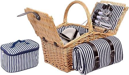 Weiden Picknickkorb 4 Personen Teller Besteck Gläser Picknick Korb Weidenkorb
