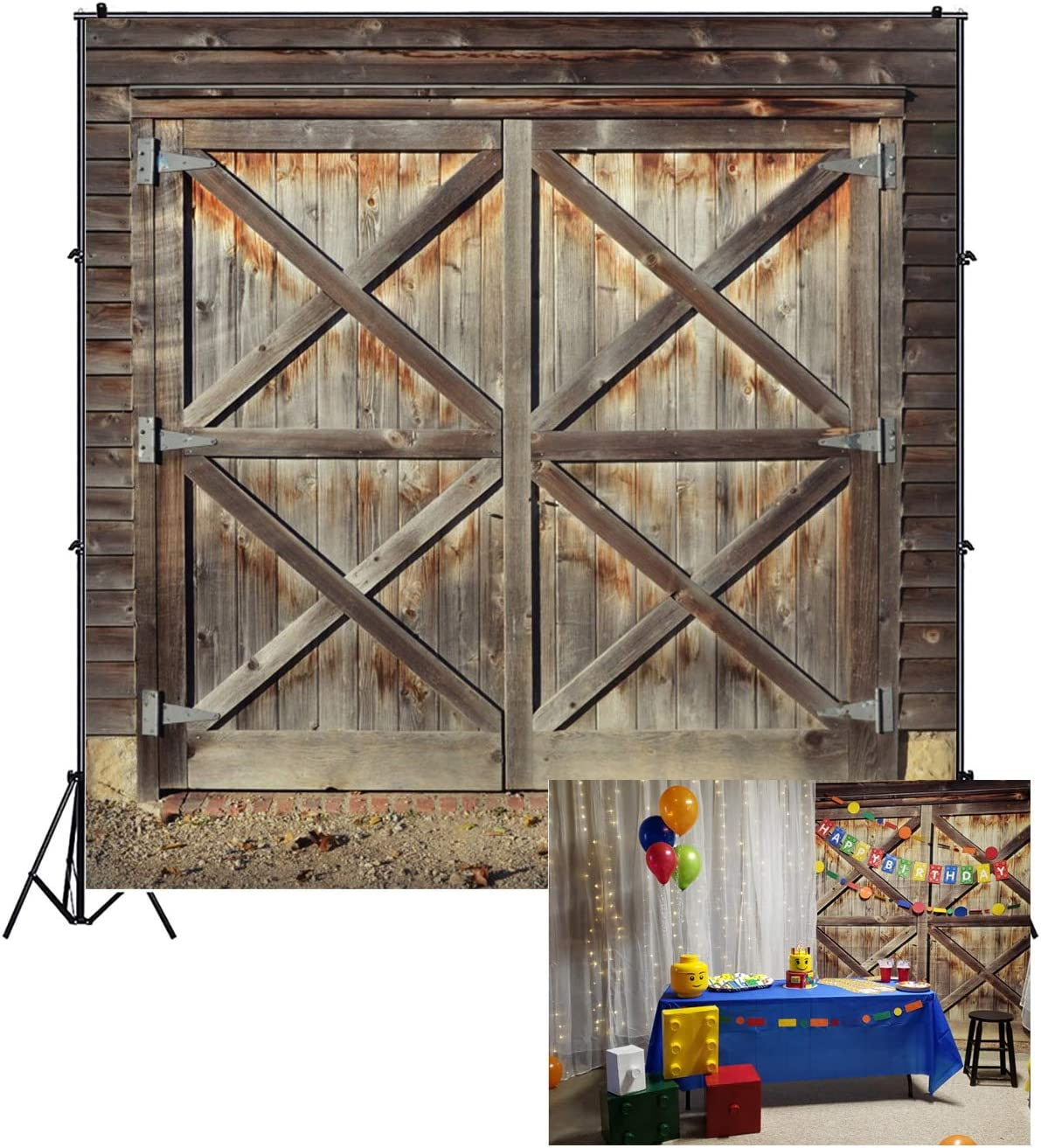 Leowefowa 8x10ft Vinyl Photography Backdrop Rustic Weathered Blue Wooden Door with Glass Window Background Event Party Decoration Portrait Photo Shoot Studio Photo Booth Props