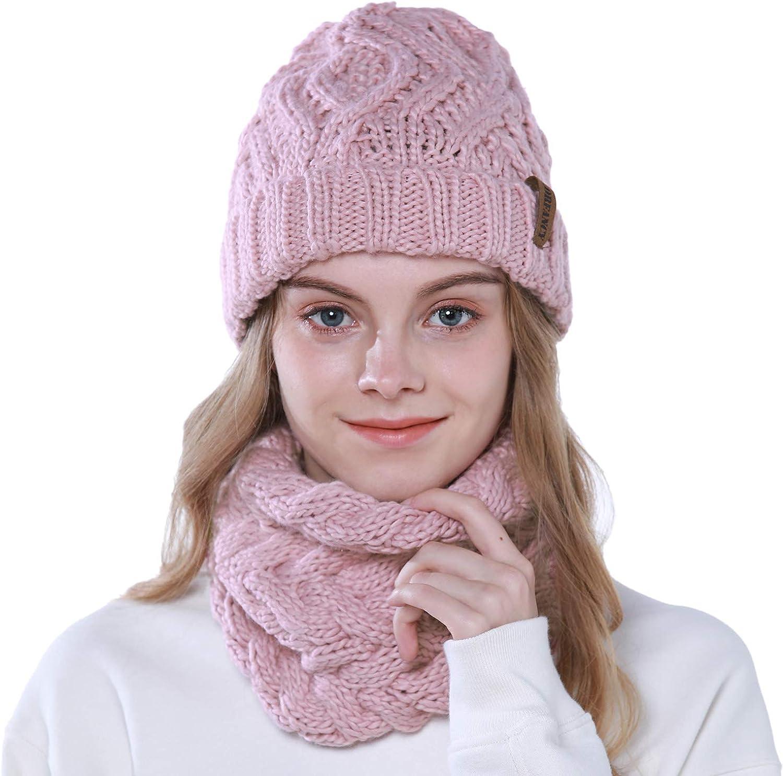 Tacobear 2 Piezas Conjunto de Gorros de Punto de Mujer Calentar Sombrero Mujer y Bufanda Sombrero Punto de Invierno Beanie Gorra Punto para Adultos Niños Chicas
