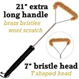"Do-Be Products Brass Grill Brush-Extra Long 21"" For Best Reach and Leverage"
