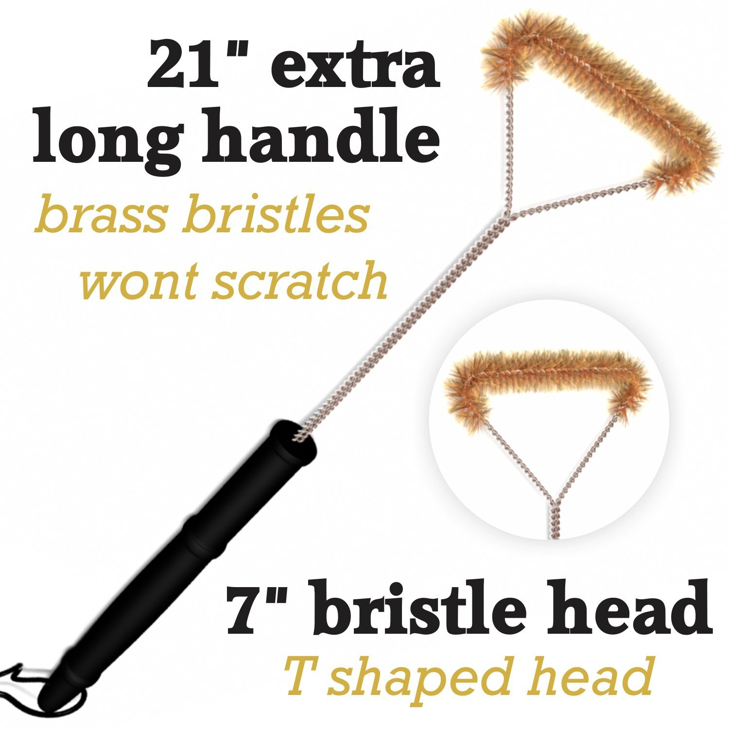 Grill Brush Extra Long 21u201d Removes Grease Grime And Debris From Top Bottom  Corners And Sides Brass Bristles Wonu0027t Scratch Or Damage Porcelain  Grids !50%Sale ...