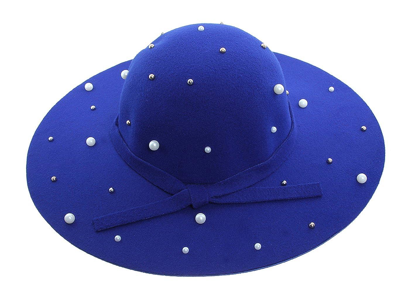 ACVIP Women Wide Brim Bowler Hat Floppy Felt Fedora Cap witn Faux Pearl
