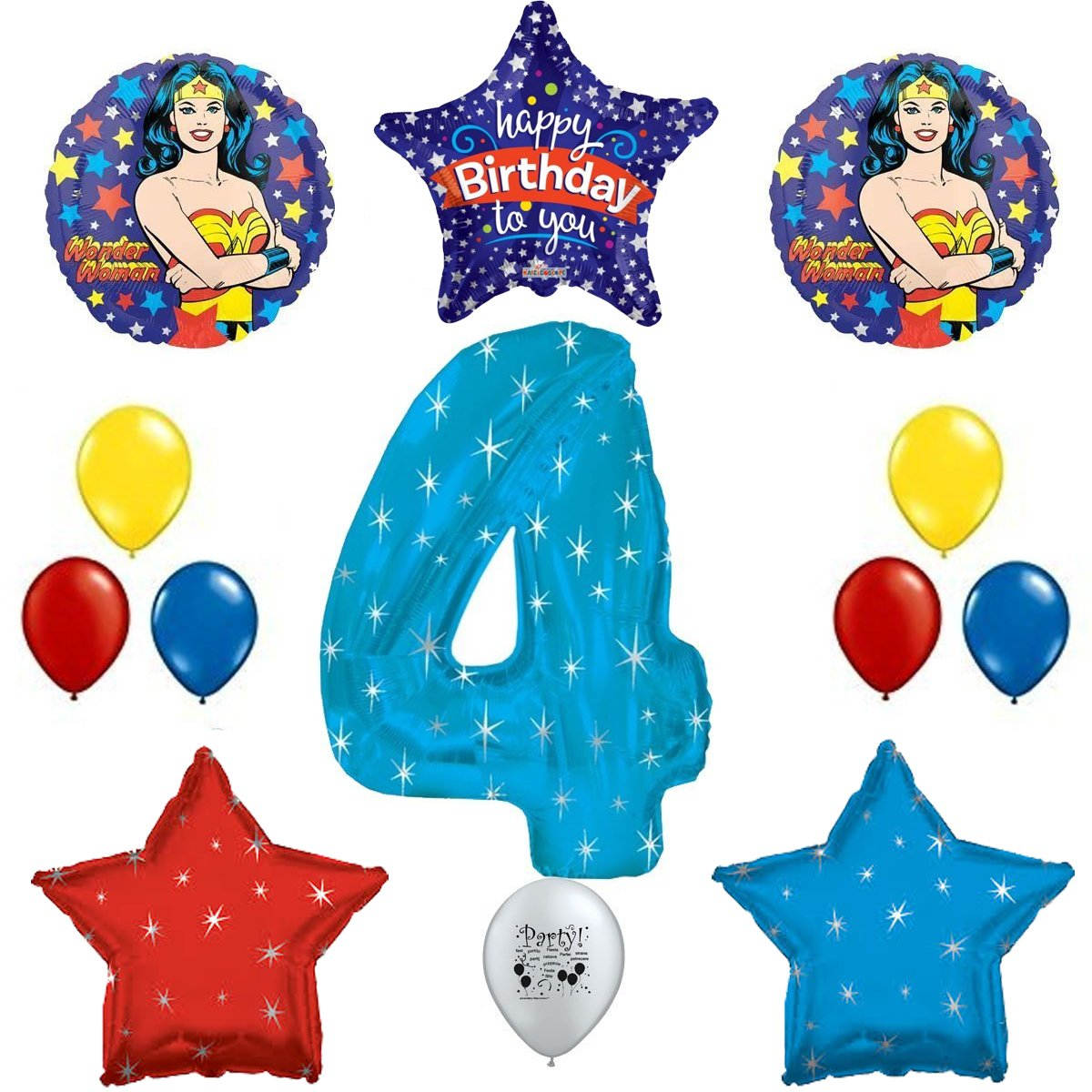 Combined Brands Wonder Woman Party Supplies 4th Birthday Party Supply Balloon Decorations