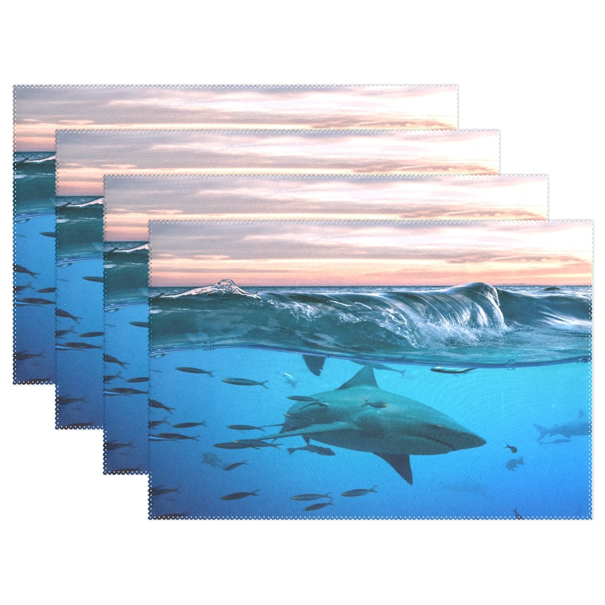 Wozo bullshark Shark Underwaterプレースマットテーブルマット12