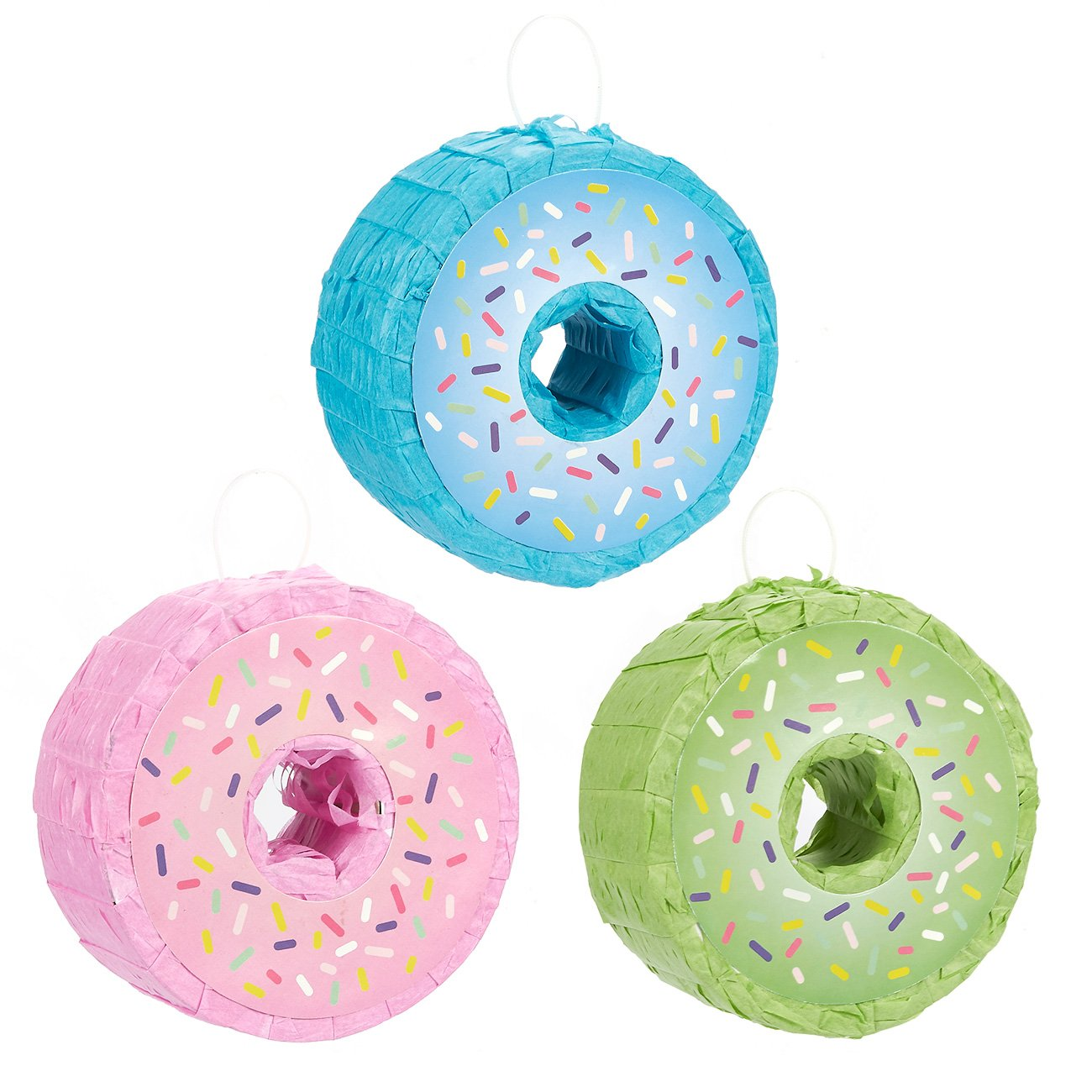 Juvale 3-Pack Mini Donut Pinatas - Party Supplies for Donut Themed Birthday Parties, 4.75 x 4.75 x 2 Inches