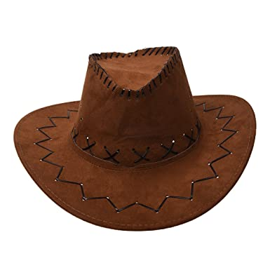 ede4a8d9320 Cowboy Cowgirl hat - SODIAL(R) Retro Unisex Denim Wild West Cowboy Cowgirl  Rodeo Fancy Dress Accessory Hats light Coffee  Amazon.co.uk  Clothing