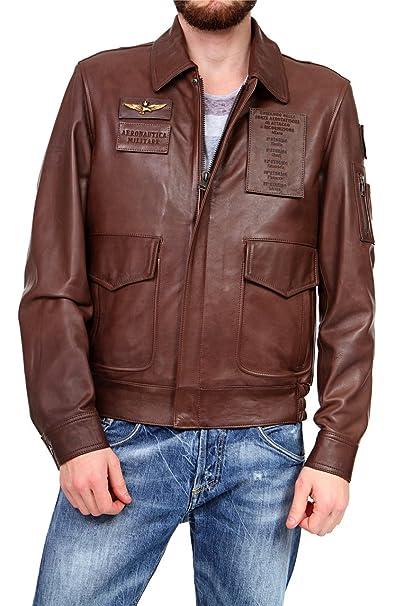Aeronautica Militare Hombre Chaqueta Chaqueta de piel, color: marrón marrón 50: Amazon.es: Ropa y accesorios