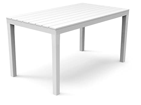 Piano Per Tavolo Plastica.Ipae Progarden Tavolo Da Giardino Sumatra Bianco Di Plastica Con