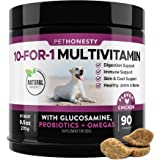 10 in 1 Dog Multivitamin with Glucosamine - Essential Dog Vitamins with Glucosamine Chondroitin, Probiotics and Omega Fish Oi