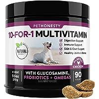 PetHonesty 10 in 1 Dog Multivitamin with Glucosamine - Essential Dog Vitamins with Glucosamine Chondroitin, Probiotics…